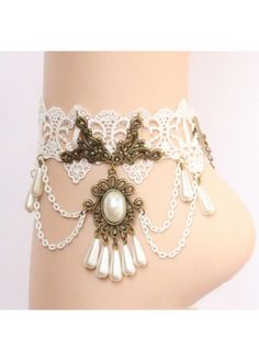 Exquisite Hollow Lace Design Beading Anklets with Chain Sale! Free shipping!