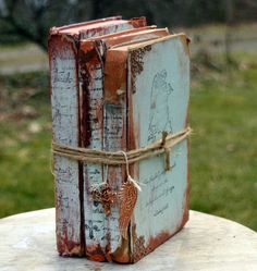Old French Book Set of 3  Tattered Vintage Painted Books, Old Book Bundle - Light Aqua with Rust, French Script - Distressed by SecretTreasuresFound on Etsy https://www.etsy.com/listing/271247963/old-french-book-set-of-3-tattered