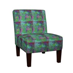 Maran Slipper Chair featuring PAINTED ABSTRACT INCA Tiles Large AQUA GREEN PINK BURGUNDY by paysmage | Roostery Home Decor