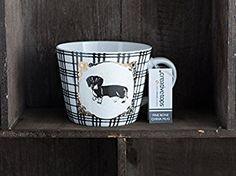 Taza de porcelana a cuadros de perro salchicha
