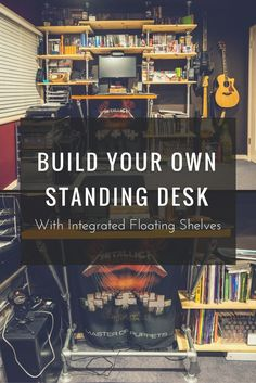 Build Your Own Standing Desk with Integrated Shelves  #KeeKlamp #DIY #StandingDesk #PipeDesk #PipeShelf
