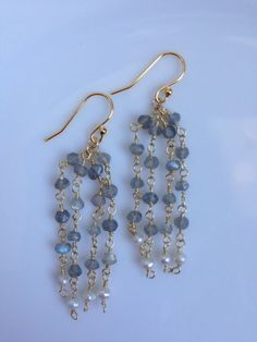 Labradorite and Freshwater Pearl Chandelier Earrings 14K by AmiAbo