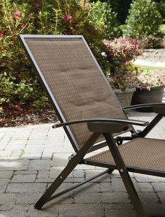 Outdoor Patio Lounge Chairs Brown Folding Padded Sling Chaise Adjustable  Bed NEW
