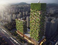 A cidade de Nanjing vai receber dois edifícios recheados de árvores, plantas e arbustos que os transformarão em verdadeiras florestas verticais