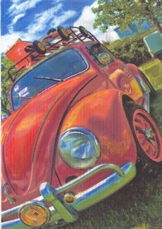 Limited edition SIGNED canvas print VW Volkswagen Classic, Vintage Beetle: Amazon.co.uk: Kitchen & Home