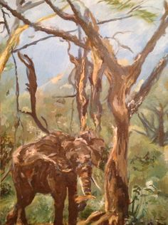 Elephant eating Tree Bark, 1989