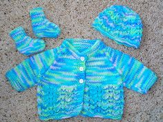 """Overview: This is a Baby Set to fit a 4-5lb baby. The finished jacket measures approx 13"""" around chest."""