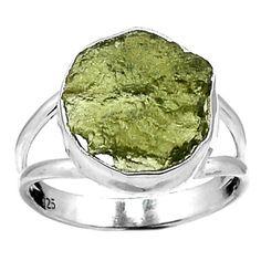 Genuine-Czech-Moldavite-925-Sterling-Silver-Ring-Jewelry-s-9-5-SR110460