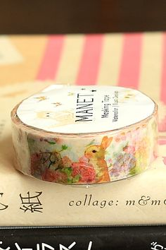 Japanese Kawaii Washi Paper Masking Tape by Manet - Rabbit Flower