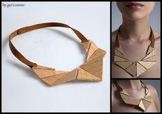 Necklace | Eleni Dagaki.  Wood and leather