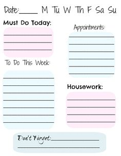 Daily Activity Printable (Free Download)  (( I think I want to print & frame it and use as a white board for the kitchen.