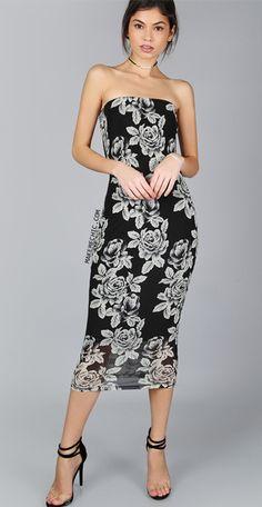 Black Flower Print Bandeau Midi Dress