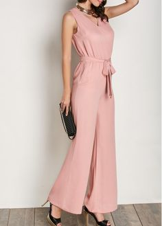 Sleeveless Belted V Neck Pink Jumpsuit Sleeveless Belted V - January 19 2019 at Image gallery – Page 322218548339322480 – Artofit jumpsuits For Women Trendy Jumpsuits Rompers for women on sale Pink Jumpsuit, Jumpsuit Outfit, Dress Outfits, Fashion Outfits, Short Jumpsuit, Kids Dress Clothes, Clothes For Women, Rompers Women, Jumpsuits For Women