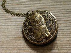 Brass Cat Locket Victorian Style Cat Locket Round by LoveLockets