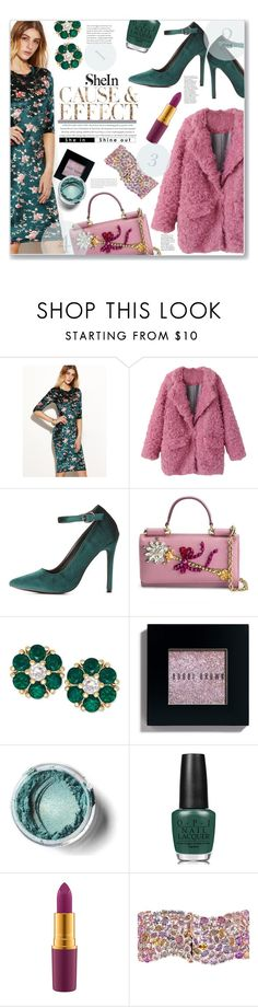 """""""SheIn Effect"""" by jckallan ❤ liked on Polyvore featuring Charlotte Russe, Envi:, Dolce&Gabbana, Bobbi Brown Cosmetics, OPI and Miadora"""
