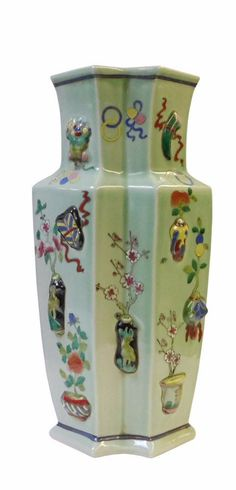 Chinese Light Green Dimensional Color Graphic Double Rhomboid Porcelain Vase cs1431S