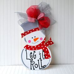 Snowman Wreath, Snowman Door Hanger, Roll Tide Christmas, Christmas Decor, Christmas Door Hanger, Holiday Decor on Etsy, $48.00