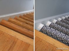 How to Install a Stair Runner - Stairs are much safer when there is a stair runner that can offer traction to reduce the chances of a fall. - Thrift Diving Stairs And Staircase, Staircase Makeover, Carpet Stairs, Staircase Design, Spiral Staircases, Stair Runner Installation, Narrow Hallway Decorating, Modern Stairs, Floating Stairs
