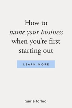 Got too many business name ideas and not sure which to choose? Marie breaks down the pros and cons of using your name for your business — and how to pick a business name that makes the most sense for your brand and business goals. #businessname #businessnameideas #marieforleo #startingabusiness