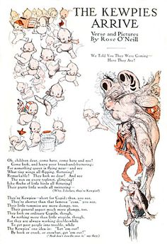 Rose O'Neill (1874-1944), creator of the Kewpies, became one of the highest paid illustrators in America in the 1920s.    She was the first illustrator to build a merchandising empire from her work complete with story books, household products, dolls, and a clothing line. Her success was based on her artistic creation, the Kewpies.