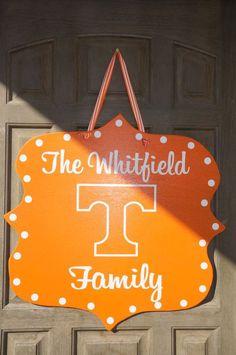 Collegiate Custom Tennessee Volunteers Door Hanger...would be cute for dorm room door