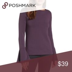 "Halogen Bateau Blouse Bell Flare Sleeve Purple NWT 57% Cotton 38% Modal 5% Spandex  Machine washable  Approximately: 24"" Long 20"" Pit to pit 27"" Sleeves 15.5"" Shoulder Halogen Tops Blouses"