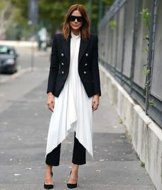 Christine Centenera wearing white pleated dress over pants. Fashion Gone Rouge, Fashion Mode, Look Fashion, Autumn Fashion, Womens Fashion, Fashion Trends, Mode Chic, Mode Style, Dress Over Jeans