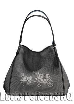COACH 35344 HORSE AND CARRIAGE EDIE SHOULDER BAG  CANVAS Silver/Black/Chalk NWT #Coach #ShoulderBag