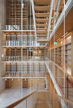 The book castle. The lobby of the NLG. Stavros Niarchos Foundation Cultural Center by Renzo Piano. Photograph @ Michel Denancé, courtesy of Renzo Piano and Stavros Niarchos Foundation.