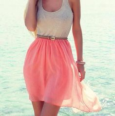 flowy coral skirt