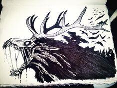 Wendigo by OliviaRampaige on DeviantArt Creepy Drawings, Dark Art Drawings, Creepy Art, Cool Drawings, Monster Art, Monster Drawing, Monster Tattoo, Arte Obscura, Creature Drawings