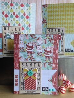 """Items similar to Mistletoe Magic Collection: Handmade """"Santa, Merry, Bells"""" card set with retro paper and chipboard presents (set of on Etsy Xmas Cards To Make, Christmas Cards, Handmade Items, Handmade Gifts, Lost & Found, Mistletoe, Paper Design, Card Ideas, Card Making"""