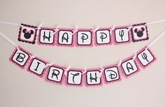 Minnie Mouse Happy Birthday Party Banner by 5M Creations