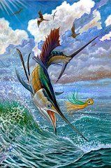 Dolphin Paintings - Sailfish And Lure by Terry Fox