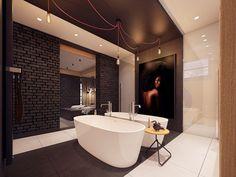 salle de bains ultra moderne avec mur de brique, carrelage de sol grand format et baignoires jumelles en blanc