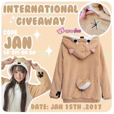 Try your good luck at the beginning 2017 ✌🏻 . Spreepicky Kawaii Shiba Inu Hoodie Giveaway begins,come and join us ^.^  Total 2 winners  1. Follow @spreepicky 2. Like and Repin this pic  3. Finish above and enter here: https://goo.gl/vpDoUo  4. Ends on Jan 15th .2017  What is more? Code: Jan for 10$ off on 80$ is valid  during giveaway time.