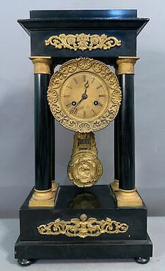 19thC Antique VICTORIAN Era PORTICO Style BRASS ORMOLU Ebonized MANTEL Old CLOCK | eBay Old Clocks, Mantle Clock, Victorian Era, 19th Century, Ebay, Antiques, Table Toppers, Vintage Watches, Antiquities