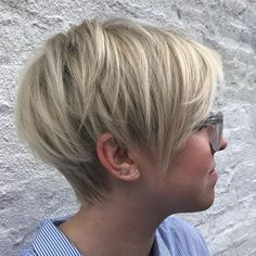 Long Blonde Pixie with V-Cut Layers