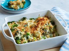 Broccoli Gratin Recipe : Food Network Kitchen : Food Network - use low fat milk & cheese, no salt or breadcrumbs to lower calorie count Best Broccoli Recipe, Broccoli Recipes, Vegetable Recipes, Vegetarian Recipes, Cooking Recipes, Cooking Food, Budget Cooking, Game Recipes, Vegetarian Cooking