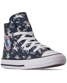 Converse Kids' Little Girls Chuck Taylor Unicorns High Top Casual Sneakers From Finish Line In Navy/black/white Baby Sneakers, Casual Sneakers, High Top Sneakers, Converse Style, Converse Shoes, Kid Shoes, Shoe Boots, Converse Chuck Taylor All Star, Sporty Style