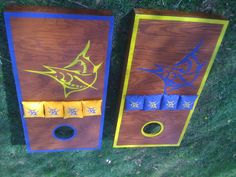 Marlin cornhole boards for Dad. 3rd set made!  Contact Jason@RichmondCustomCornhole.com for your custom set. Marlins Baseball, Cornhole Boards, Woody, Future, Cool Stuff, Games, Projects, Crafts, Log Projects