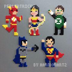 Justice League Perler Bead Magnets -- Superman Batman Flash Wonder Woman Green Lantern JLA geekcraft hama beads superhero ornaments by HarmonArt2 on Etsy https://www.etsy.com/listing/197398498/justice-league-perler-bead-magnets