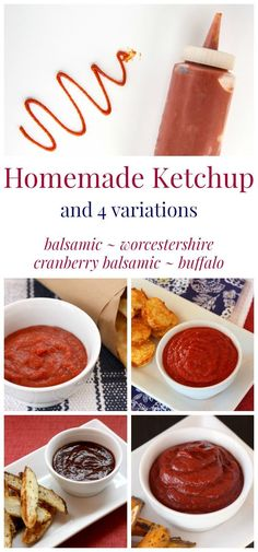 Homemade Ketchup and 4 Variations - give your hamburgers, hot dogs, and French fries the gourmet treatment by whipping up your own condiments in minutes with no added sugar or other stuff. | http://cupcakesandkalechips.com | gluten free, vegan