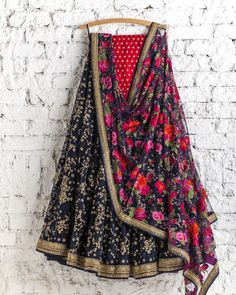 Lehengas by SwatiManish : Regal blue lehenga with floral dupatta