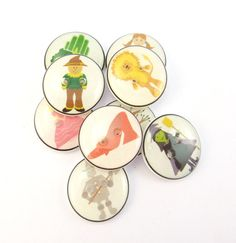 9 Wizard of Oz Buttons.  Set of 10 different by buttonsbyrobin