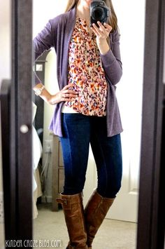 gorgeous outfit - love the blouse and card. Cathleen Abstract Print Tulip Sleeve Blouse from Stitch Fix with skinny jeans, brown boots, and a plum cardigan