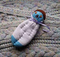 Lavender Filled Sachet Handmade Sock Doll OOAK White w Brown Hat Orange Eyes #Pedricks