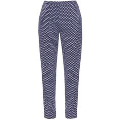 Diane Von Furstenberg Leni trousers (€130) ❤ liked on Polyvore featuring pants, bottoms, trousers, navy white, high waisted floral pants, high-waist trousers, patterned pants, high-waisted trousers and high-waisted pants