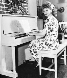 Lucille Ball playing the piano