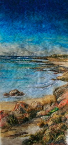 Felt Painting of east coast of King Island by Liz Butcher